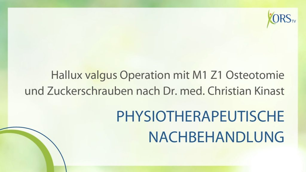 Physiotherapie nach Hallux valgus Operation. (6 Videos)